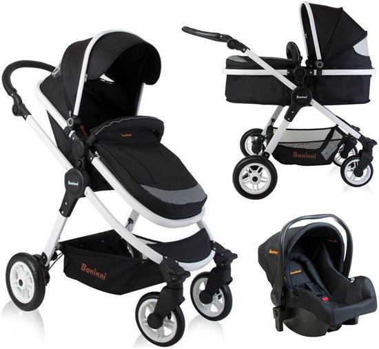 kinderwagen baninni ayo black white incl autostoel. Black Bedroom Furniture Sets. Home Design Ideas