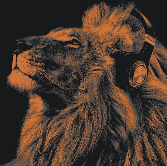 Canvas leeuw met koptelefoon wonen - Tafel leeuw ...