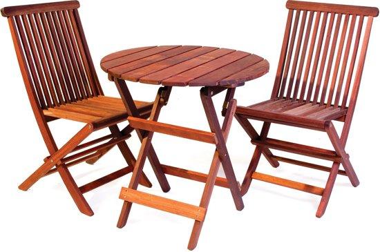 Bistro set uit exclusief mahoniehout ronde tafel 2 stoelen - Smeedijzeren stoel en houten ...