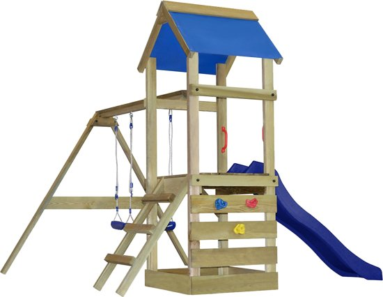 vidaXL Speelhuis met ladder, glijbaan en schommels 290x260x245 cm hout in Meetkerke