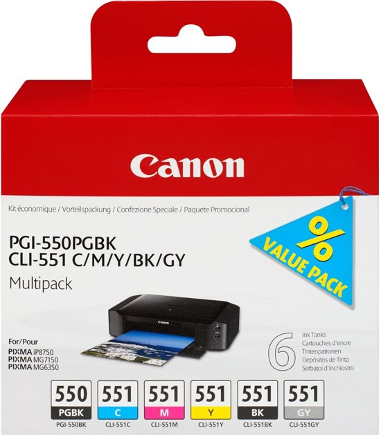 Canon PGI-550 / CLI-551 - Inktcartridge / Zwart / Geel / Magenta / Cyaan / Pigment Zwart / Grijs