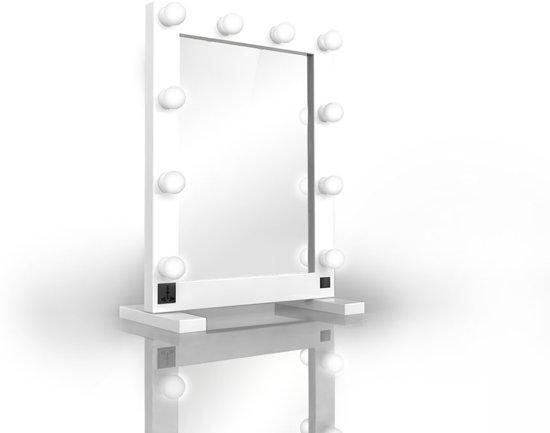 hollywood tabletop spiegel met led bulb verlichting tm 100 wit mooi en. Black Bedroom Furniture Sets. Home Design Ideas