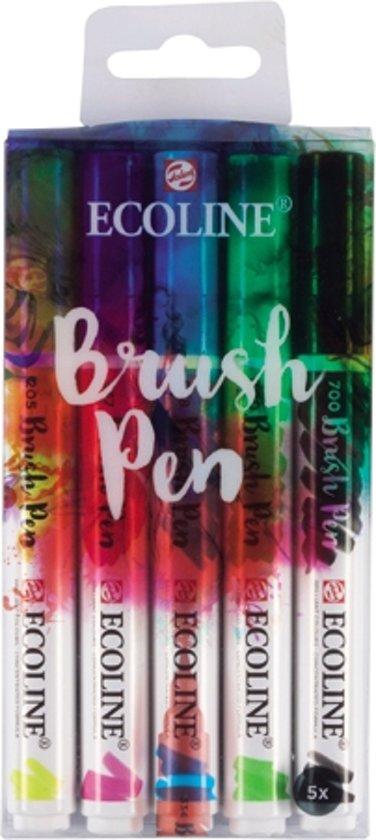 Talens Ecoline Brush Pen set met 5 stuks in Mariënvelde