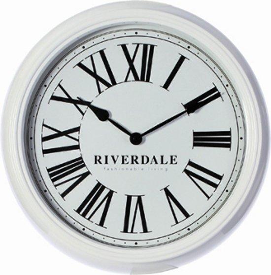 Riverdale time klok rond metaal 38 cm wit - Klok cm ...
