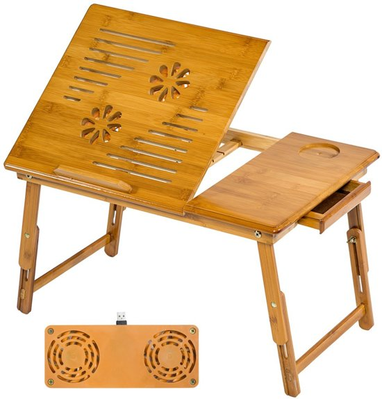 Houten laptoptafel laptop table + USB ventilator 401655 in Klemskerke