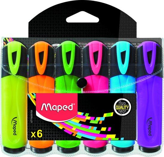 Fluo Pep's tekstmarker classic - assorti kleuren - in etui x 6 in Overberg