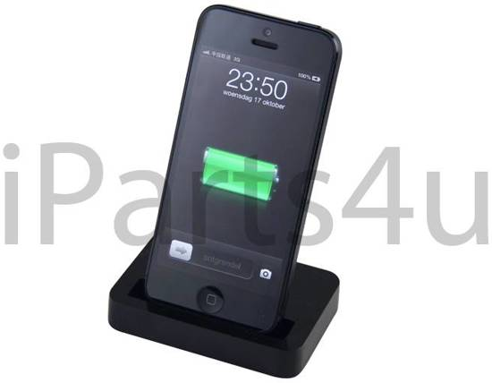 iparts4u lightning docking station iphone 5 5s dock zwart. Black Bedroom Furniture Sets. Home Design Ideas