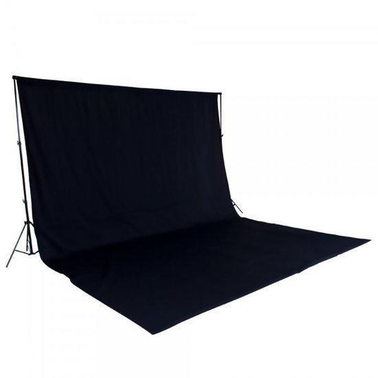 Tectake achtergrondsysteem fotografie doek met statief zwart 400779 - Mandje doek doek ...