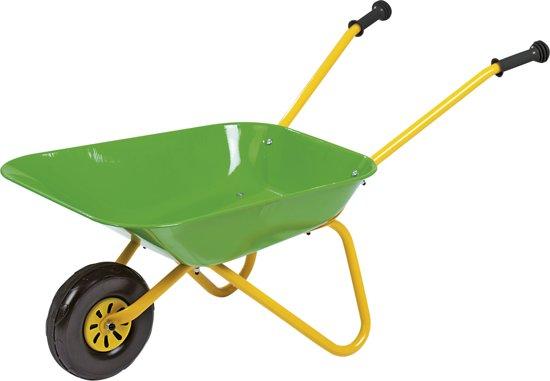 metalen kruiwagen groen/geel in Boerhaar