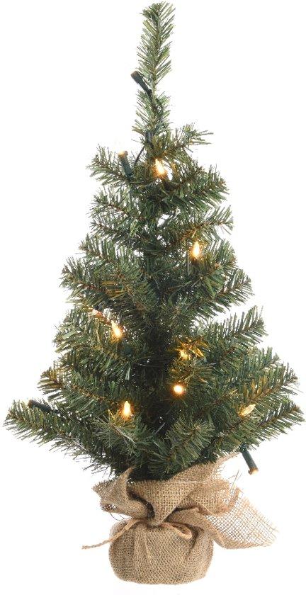 Everlands mini kunstkerstboom jute zak 60 cm hoog met verlichting - Decoratie kantoor ...