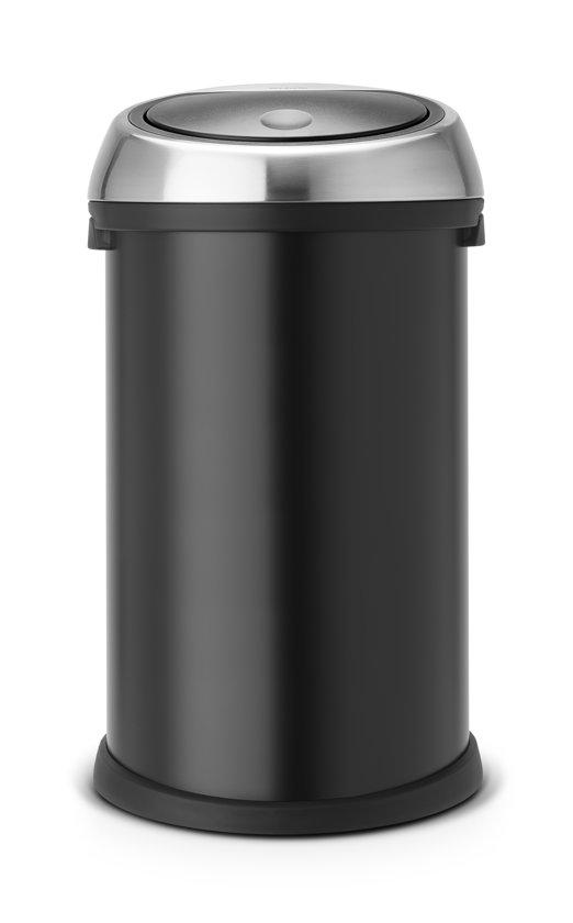 Brabantia Touch Bin Prullenbak - Rond - 50 l - Zwart met Matt Steel deksel