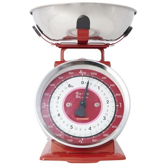 Vintage Keukenweegschaal : Typhoon Vintage Kitchen Scales Red