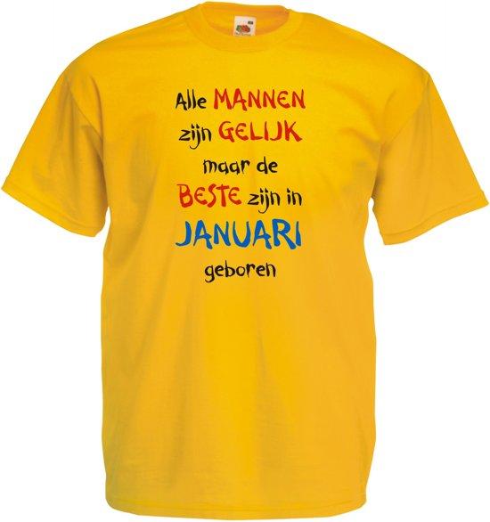 Mijncadeautje - T-shirt - geel - maat M - Alle mannen zijn gelijk - januari in Werven