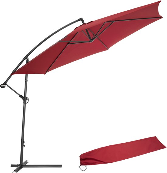 tectake metalen zweefparasol met uv bescherming 3 5m rood. Black Bedroom Furniture Sets. Home Design Ideas