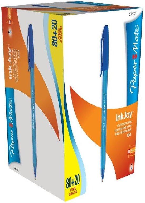 Papermate Balpen InkJoy 100 80 blauwe balpennen (977420) + 20 GRATIS in Dwingeloo