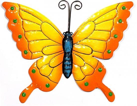 Decoratie vlinder geel oranje 22 cm - Decoratie geel ...