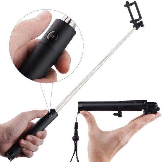 mini selfie stick met bluetooth en knopje in het hanvat zwart voor oa. Black Bedroom Furniture Sets. Home Design Ideas