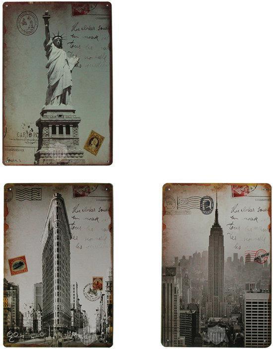New york set van 3 signs retro wandborden amerika usa metaal wonen - Mode stijl amerikaans ...