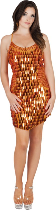 Glitterjurk Oranje - Maat M in Boveneind