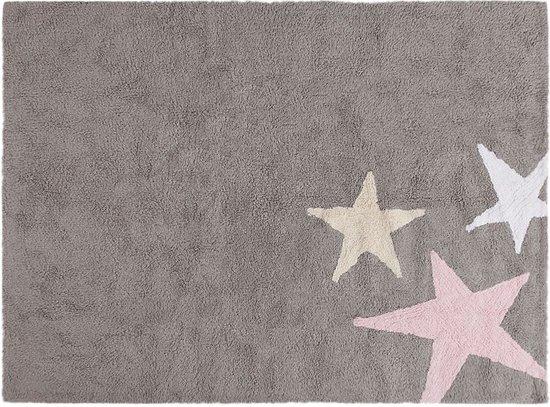 Vloerkleed kinderkamer 3 sterren grijs roze wonen - Kinderkamer grijs en roze ...
