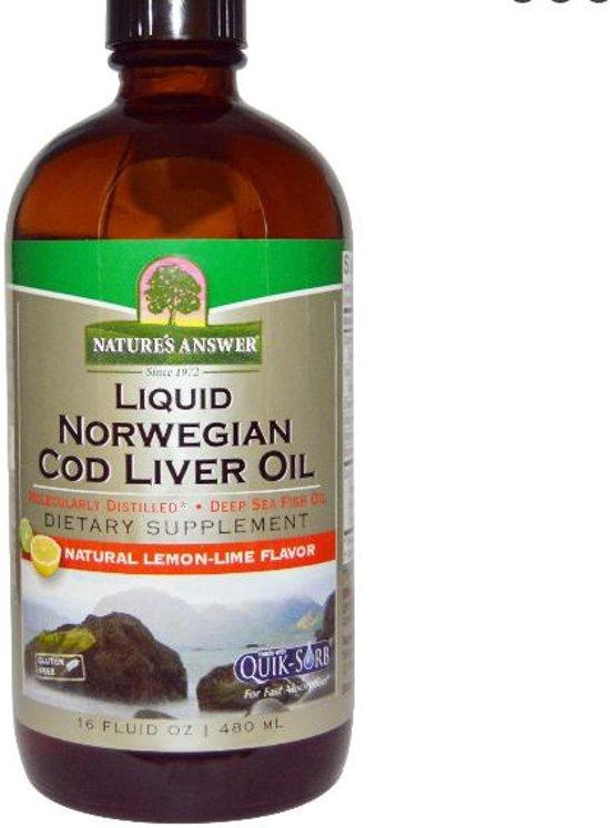Noorse Vloeibare Levertraan Olie (480 ml) - Nature's Answer