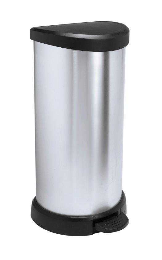 Curver Decobin Pedaalemmer - 40 l - Kunststof - Zilver Metallic