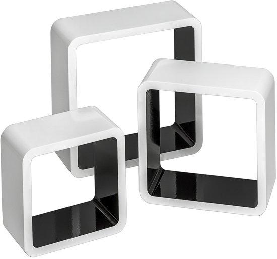 bol.com : set van 3 Wandplanken Renate hoogglans zwart/ wit 401591 ...