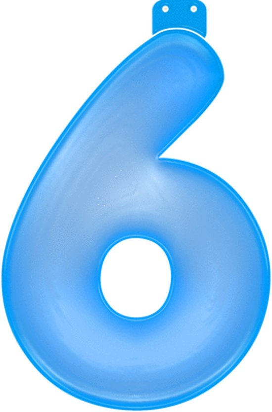 Opblaas cijfer 6 blauw in Spijkerboor
