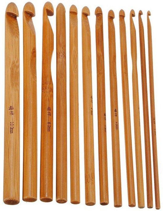 Bamboe Haaknaalden 12 Stuks - Haaknaald / Haaknaalden Set Met Ergonomisch Ontwerp - Haaknaaldenset Voor Mooie Crochet Patronen Haken in Horsten