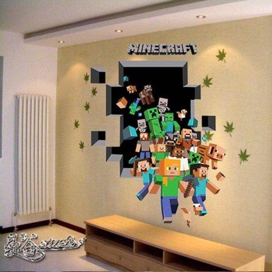 3d minecraft game muursticker muurposter for 3d slaapkamer maken