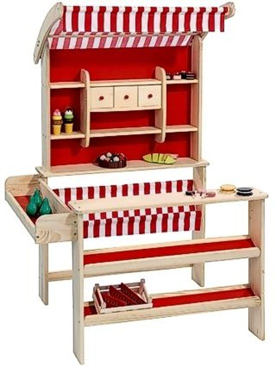 Playwood - Houten winkel rood - Speelgoed winkeltje - Marktkraam in Hoekelum