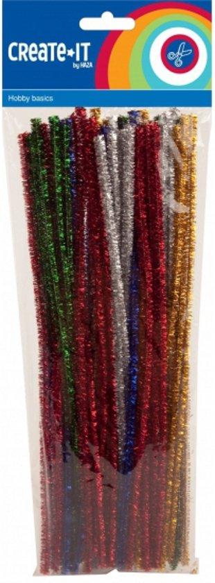 Chenilledraad/ pijpenragers diverse kleuren met glitters 30 cm 50 st in Hainin