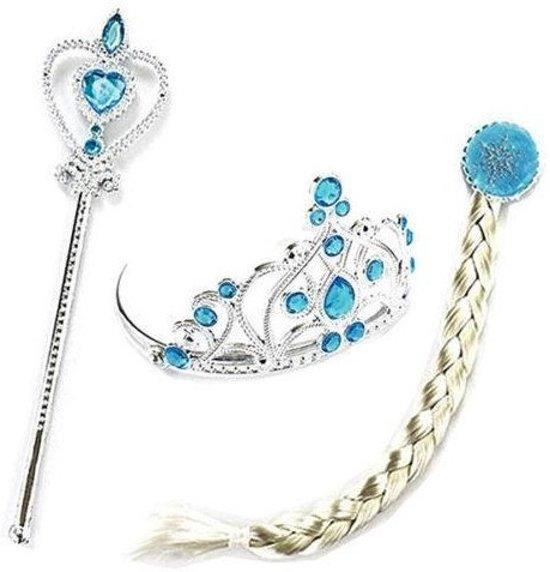 Elsa Frozen accessoire verkleed set : kroon, toverstaf en haar vlecht bij jurk in Oostindië