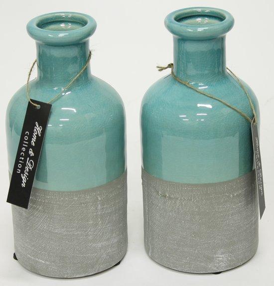 ... com  Woon247 Decoratie Vazen set van 2 blauw - Grijs h20,5 cm  Wonen