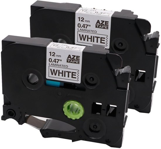 2x Compatible for Brother  Tze-231 Compatible for Brother  P-touch Label Tapes- Kleur: Black on White  - Afmeting: 12mm