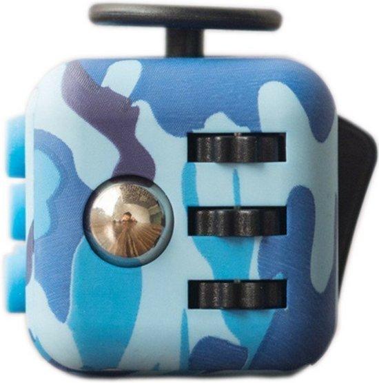 Orginele Fidget Cube - Stress Verminderende Speel Kubus - Vinger Friemel Kubus - Stress Bal – 3 x 3 cm – Design Legerprint / Blauw in Overboeicop