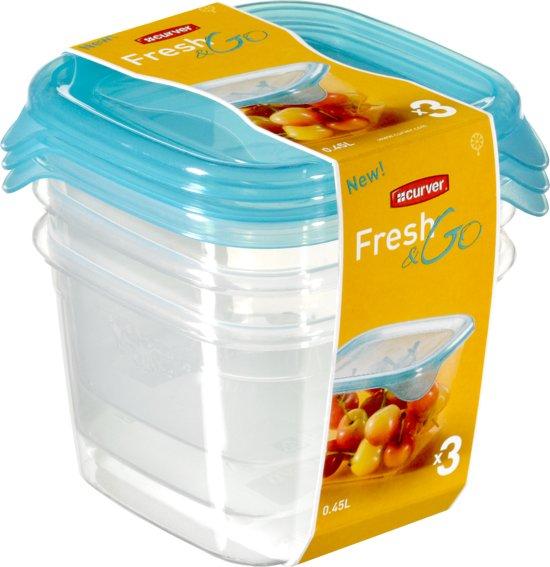 Curver Set Fresh&Go Vershouddozen - 3x 0,45 l - Kunststof - Vierkant - Transparant/Translucent precious blauw - Set van 3 stuks