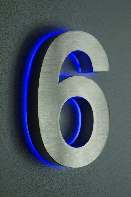 Huisnummer met led verlichting van rvs hoogte for Bol com verlichting