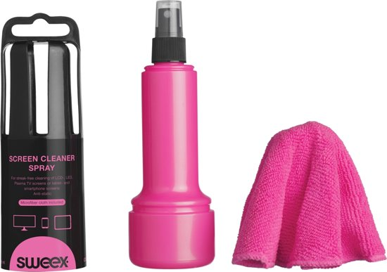 Screen Cleaner Spray 150 ML Pink. With Cloth. Anti-Static