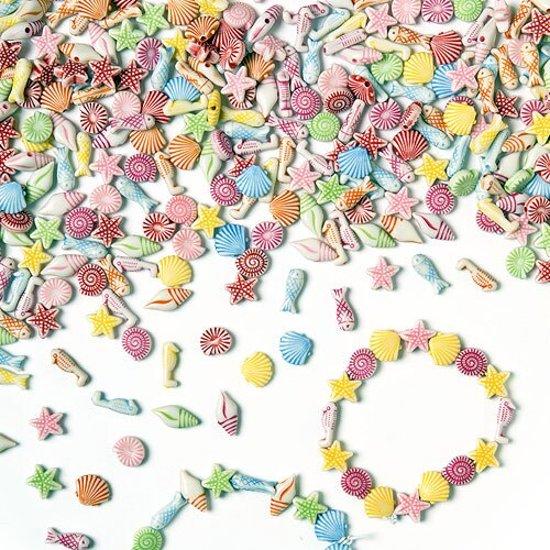 Gekleurde zee kralen - shelpen vissen zeester zeepaardje - creatieve knutselpakket/kralenset voor kinderen en volwassen voor armband en sieraden maken (400 stuks) in Hattem