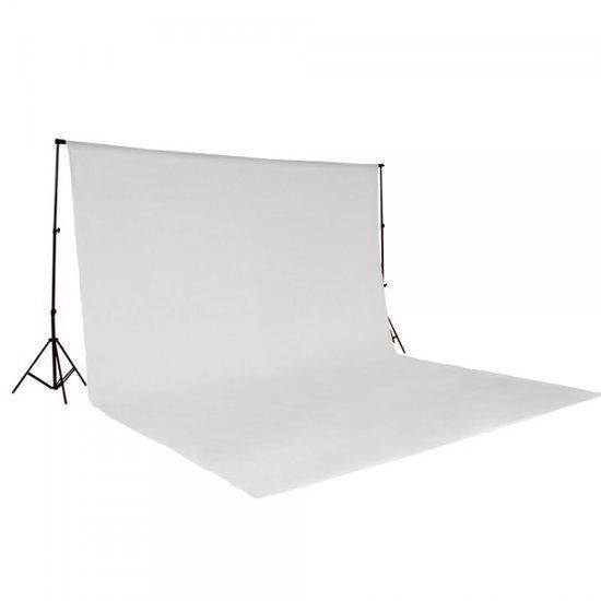 Tectake achtergrondsysteem fotografie doek met statief wit 400780 - Doek doek ...