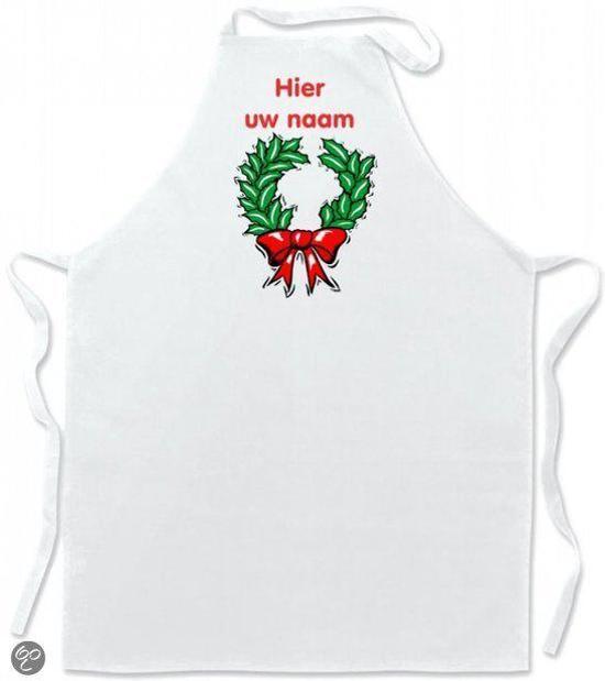 Keukenschort Kerst kerstkrans met voornaam in Westeinde