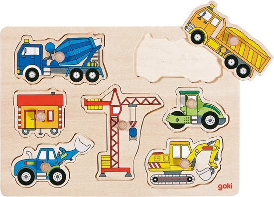 Goki Steekpuzzel Bouwwerfvoertuigen in Kerkwijk