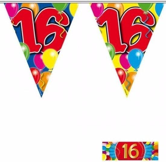 2x vlaggenlijn 16 jaar met gratis sticker in Marenne