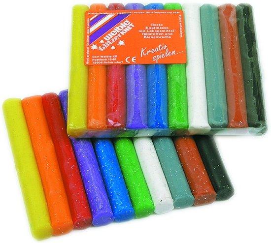 Glitter klei 10 Rollen gekleurd gesorteerd in Weerwille