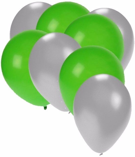 30x ballonnen zilver en groen in Oud-Ade
