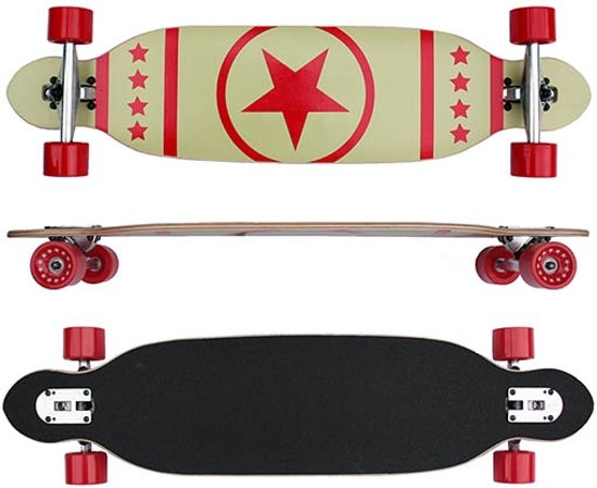 Longboard 38inch / 96cm - Drop Through - Ster Rood in Ilpendam