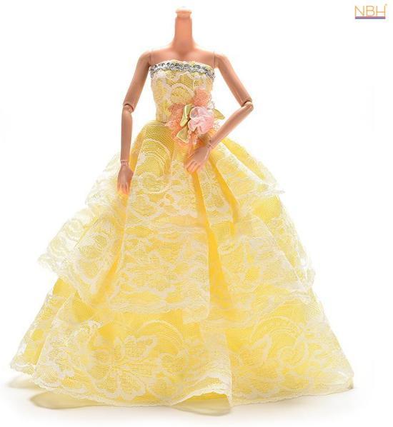 NBH® - Gele Prinsessenjurk, baljurk of trouwjurk voor de Barbie pop in Gijverinkhove