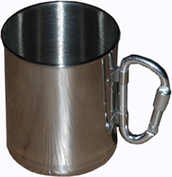 drink beker / cup / mok RVS lichtgewicht met karabijn haak in Javingue