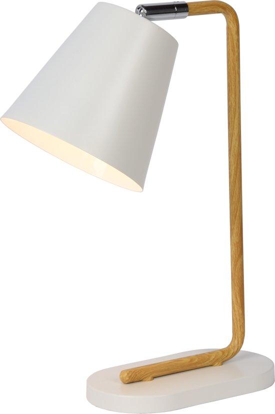 Lucide Cona Tafellamp - Scandinavisch design - Houtfineer/metaal - Wit